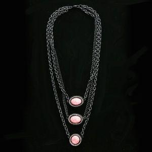 Semi-Precious Stone Necklace Gunmetal/Pink NWOT